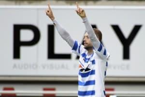 Nicklas Pedersen efter scoring mod Club Brugge (Photo by Geert Vanden Wijngaert / Photonews via Getty Images)