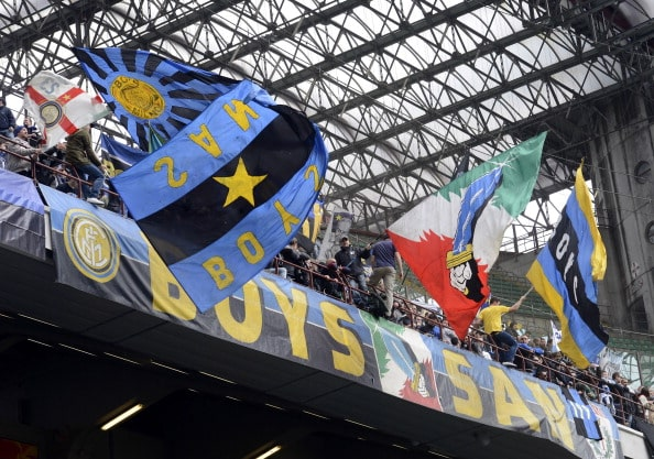 MILAN, ITALY - APRIL 21: FC Inter Milan fans during the Serie A match between FC Internazionale Milano and Parma FC at San Siro Stadium on April 21, 2013 in Milan, Italy. (Photo by Claudio Villa/Getty Images)