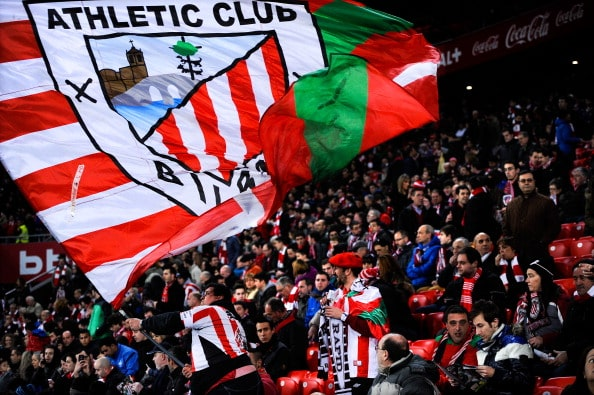 BILBAO, SPAIN - FEBRUARY 02: Athletic Club fans cheer up their team during the La Liga match between Athletic Club and Real Madrid CF at San Mames Stadium on February 2, 2014 in Bilbao, Spain. (Photo by David Ramos/Getty Images)