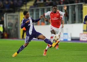 BRUSSELS, BELGIUM - OCTOBER 22: Danny Welbeck of Arsenal challenged by Youri Tielemans of Anderlecht during the UEFA Champions League match between RSC Anderlecht and Arsenal at the Constant Vanden Stock Stadium on October 22, 2014 in Brussels, Belgium. (Photo by Stuart MacFarlane/Arsenal FC via Getty Images)