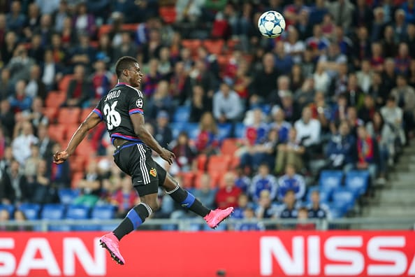 BASEL, SWITZERLAND - AUGUST 19:  Breel Embolo of Basel tries to score with a header during the UEFA Champions League qualifying round play off first leg match between FC Basel and Maccabi Tel Aviv at St. Jakob-Park on August 19, 2015 in Basel, Switzerland.  (Photo by Simon Hofmann/Getty Images)