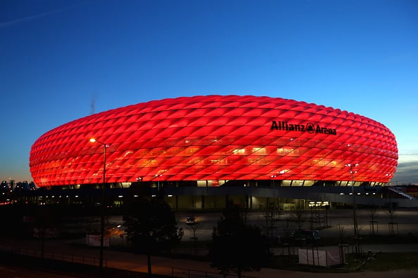 MUNICH, GERMANY - NOVEMBER 24: General view of Allianz Arena prior to the UEFA Champions League Group F match between FC Bayern Muenchen and Olympiacos FC at Allianz Arena on November 24, 2015 in Munich, Germany. (Photo by Alexander Hassenstein/Bongarts/Getty Images)