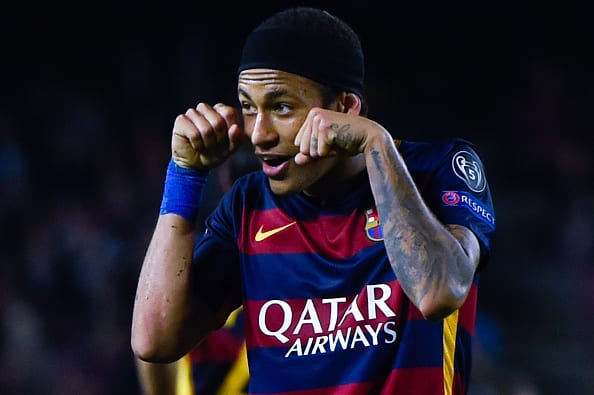 BARCELONA, SPAIN - NOVEMBER 04: Neymar of FC Barcelona celebrates after scoring his team's third goalduring the UEFA Champions League Group E match between FC Barcelona and FC BATE Borisov at the Camp Nou on November 4, 2015 in Barcelona, Spain. (Photo by David Ramos/Getty Images)