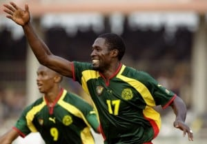 6 Feb 2000: Marc Vivien Foe celebrates for Cameroon during the African Nations Cup against Algeria played at Accra, Ghana . The match finished 2-1. Mandatory Credit: Ben Radford /Allsport
