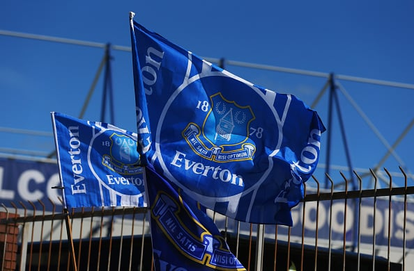 LIVERPOOL, ENGLAND - APRIL 26: A general view of Everton flags outside the stadium prior to the Barclays Premier League match between Everton and Manchester United at Goodison Park on April 26, 2015 in Liverpool, England. (Photo by Alex Livesey/Getty Images)