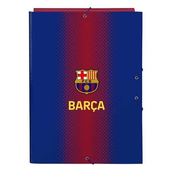 A4 Mappe Med F.c. Barcelona Logo - Blå Rødbrun